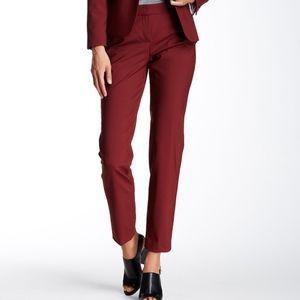 Theory Testra 2B Stretch Wool Blend Pant Deep Red